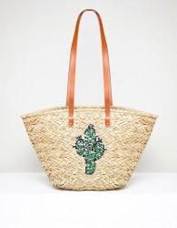 Vincent Pradier Cactus Structured Straw Beach Bag - Multi