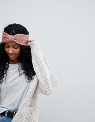 Vincent Pradier Knot Front Knit Headband in Rose - Pink