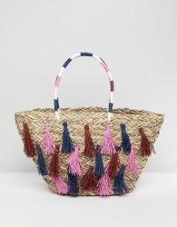 Vincent Pradier Multi Tassel Structured Straw Beach Bag - Multi