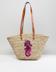 Vincent Pradier Seahorse Structured Straw Beach Bag - Multi