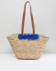 Vinecent Pradier Structured Pom Pom Straw Beach Bag - Multi