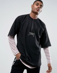 Visionair Long Sleeve T-Shirt In Black With Taping And Back Print - Black