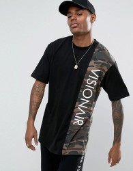 Visionair T-Shirt In Black With Camo Panel - Black
