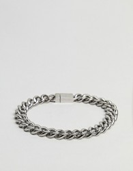 Vitaly Kickback Bracelet In Antiqued Steel - Silver