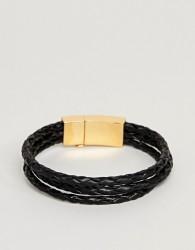 Vitaly Tether Bracelet In Gold & Black - Black
