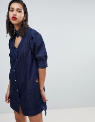 Vivienne Westwood Anglomania Heart Neck Denim Dress - Blue
