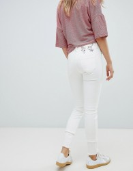Vivienne Westwood Anglomania High Rise Skinny Jeans With Embroidery And Raw Hem - White
