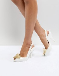 Vivienne Westwood For Melissa Lady Dragon White Heart Heeled Shoes - White