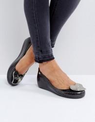 Vivienne Westwood For Melissa Ultragirl Love Black Glitter Flat Shoes - Black
