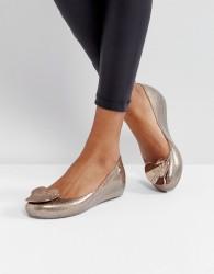 Vivienne Westwood For Melissa Ultragirl Love Gold Glitter Flat Shoes - Gold