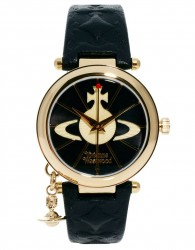 Vivienne Westwood Leather Strap Watch With Orb Charm VV006BKGD - Black