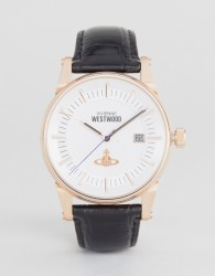 Vivienne Westwood Leather Watch In Black VV065SWHBK - Black