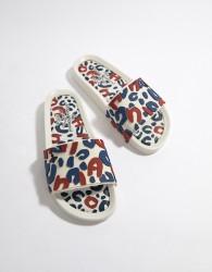 Vivienne Westwood Leopard Sliders - White