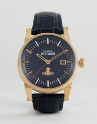 Vivienne Westwood VV065BLBL Leather Watch In Navy - Navy