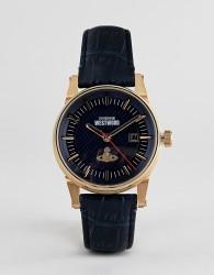 Vivienne Westwood VV065BLBL mens finsbury II leather watch in navy - Navy
