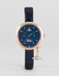 Vivienne Westwood VV139NVNV Navy Leather Watch With Orb Charm - Navy