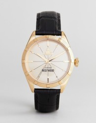 Vivienne Westwood VV195GDBK Conduit Leather Watch In Black - Black