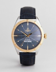 Vivienne Westwood VV195NVNV Conduit Leather Watch In Navy - Navy