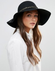 Vixen Embellished Trim Floppy Hat - Black