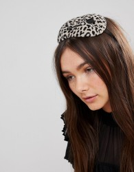 Vixen Heart Shaped Pillbox Hat in Leopard - Multi