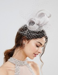 Vixen Sequin Beret with Sinamay Trim and Veiling in Silver - Silver