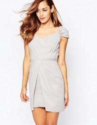 VLabel Bayliss Off Shoulder Mini Dress - Grey