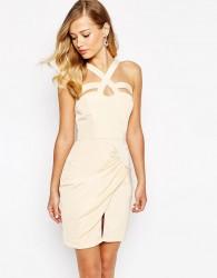 VLabel London Vale Wrap Front Mini Dress With Cross Straps - Cream