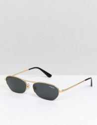 Vogue x Gigi Oval Slim Frame Sunglasses - Black