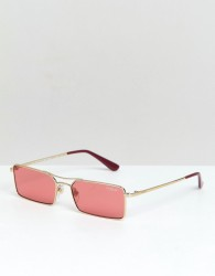 Vogue x Gigi Rectangular Slim Frame Sunglasses - Pink