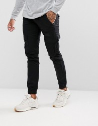 Voi Jeans Cuffed Cargo Joggers in Tapered Fit - Black