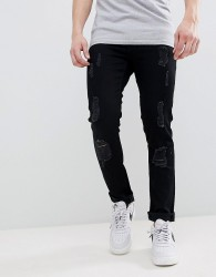 Voi Jeans Skinny Fit Jeans in Ripped - Black