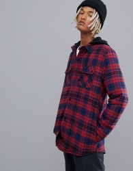 Volcom Field Ins Hooded Flannel in Red - Red