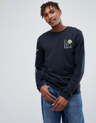 Volcom Long Sleeve T-Shirt With Rose Print - Black
