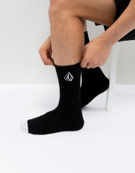 Volcom Socks With Stone Logo In Black - Black