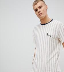 Volcom stripe t shirt in white - White