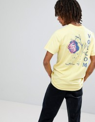 Volcom T-Shirt With Rose Back Print - Yellow