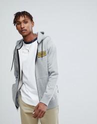 Volcom Zip Through Hoodie With Logo In Grey - Grey