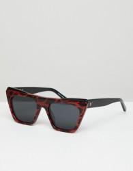 Vow London Dakota Square Sunglasses In Red - Red
