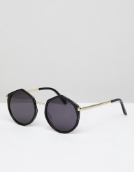Vow London Leah Round Oversized Sunglasses In Black - Black