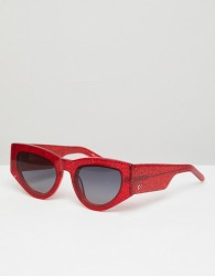 Vow London Naomi Cat Eye Sunglasses In Red Giltter - Red