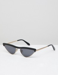 Vow London narrow cat eye sunglasses in black - Black