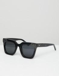 Vow London Riley Square Sunglasses In Black - Black