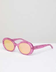 Vow London Selena Oval Sunglasses In Pink Glitter - Pink