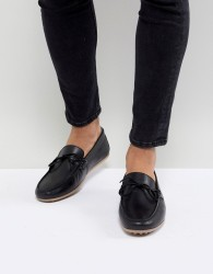 Walk London Albert Leather Drivers In Black - Black