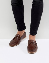 Walk London Albert Leather Drivers In Brown - Brown