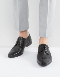 Walk London City Leather Brogue Shoes - Black