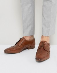 Walk London City Leather Brogue Shoes - Tan