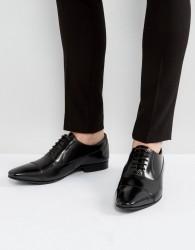 Walk London City Leather Hi Shine Oxford Shoes - Black