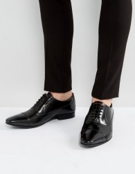 Walk London City Leather Hi Shine Oxford Shoes - Black