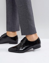 Walk London City Toe Cap Lace Up Shoes In Black - Black